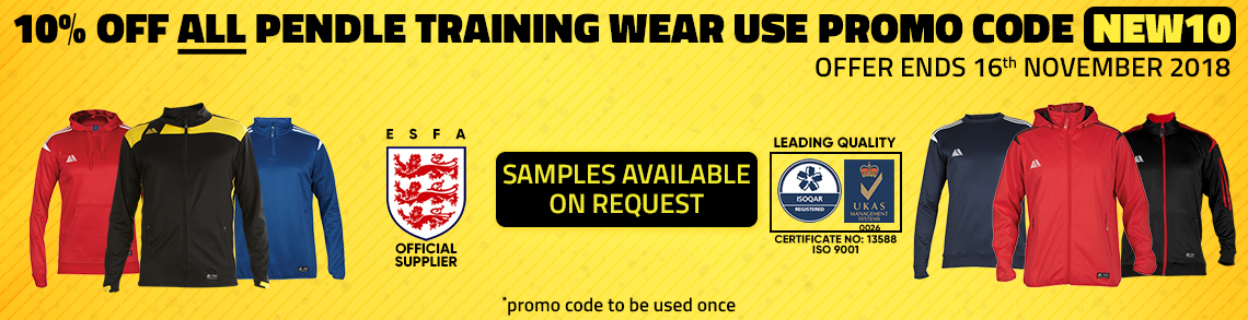 10% OFF ALL PENDLE TRAINING & CLUB WEAR